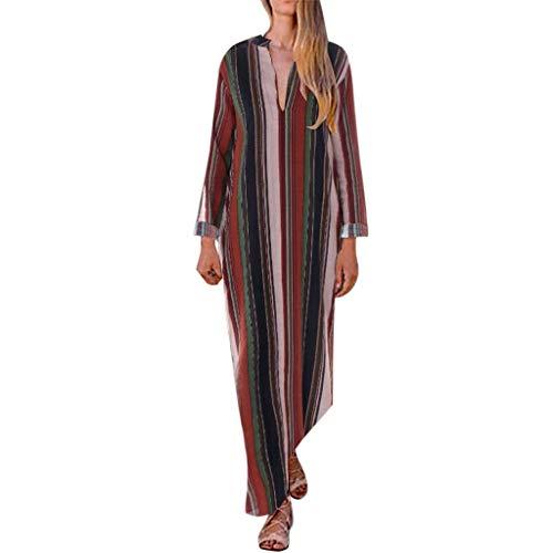 WFRAU Kleid für Frauen,Damen Lange Ärmel Übergröße V-Ausschnitt Gestreifter Druck Geteilter Saum Lange Kleid Maxikleid,Damen Party Kleid Abendkleid Strandkleidung Strand Kleider