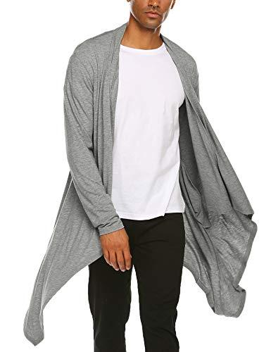 COOFANDY Men's Ruffle Shawl Collar Cardigan Sleeveless Open Front Vest Lightweight Cotton Long Length Drape Cape (Grey(Long Sleeve), Small)