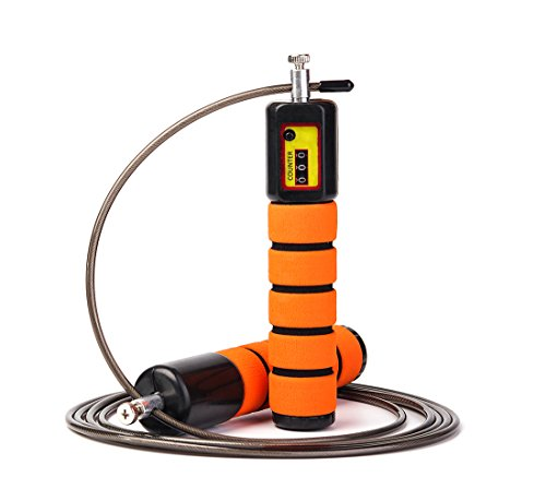 JOYORUN Springseil Speed Rope mit Zähler/Springseil Stahl für Sport Training Crossfit, Fitness-Training, Rope-Skipping, MMA & WODs