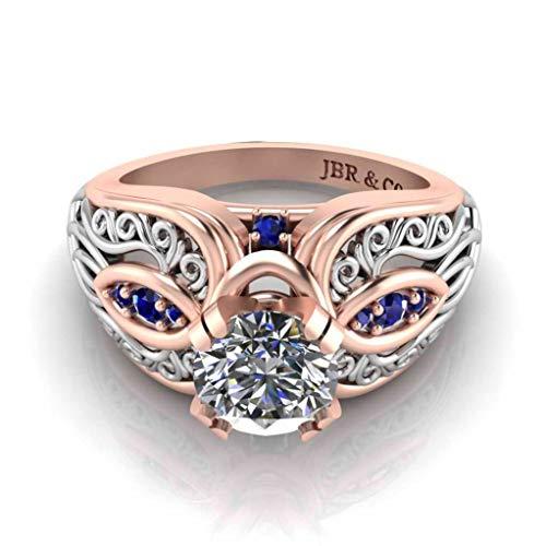 Jbr Art Nouveau - Juego de anillos de plata de ley de dos tonos con caja de regalo