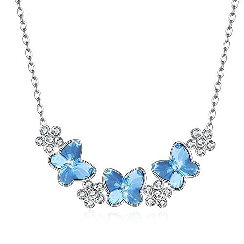 BENHAI Mujer Cristales Colgante Collar, 925 Plateado Swarovski Element Cristales Colgante Joyería Regalo para el día de la Madre para Mujer De Amor Regalos para Mamá Niñas Ajustable 46+5cm