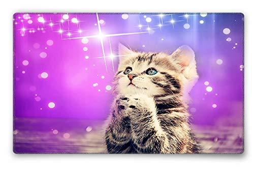 Silent Monsters Mauspad Größe S (240 x 200 mm) Stoff Mousepad Design: Katze, Vernähter Rand, geeignet für Büro und Gaming Maus