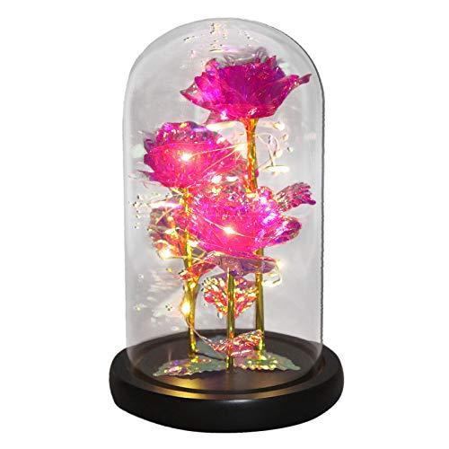 jieGorge Decoración del hogar, La Belleza y la Rosa, Flor encantada con luz LED y Rosas Rojas. Cumpleaños, para el día de San Valentín (Rosa)
