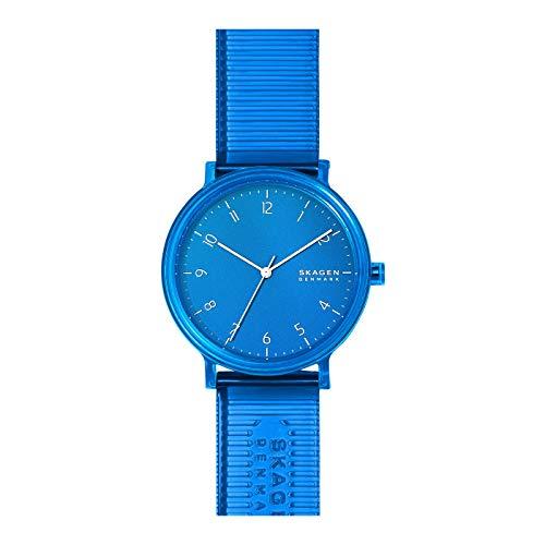 Skagen Herren Analoge Quarzuhr in Blau mit Kunststoffarmband und weißen Zahlenindizes SKW6602