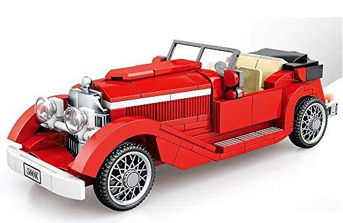 Brigamo Bausteine Auto, roter Oldtimer, Konstruktionsspielzeug, 20 cm