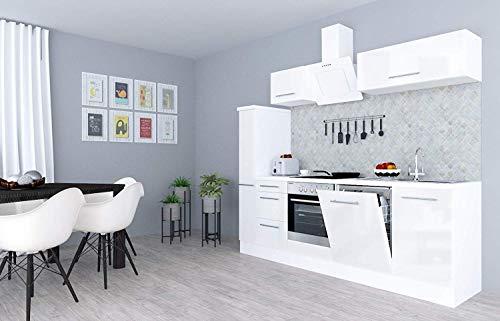 respekta Küchenzeile Küche Küchenblock Einbauküche Hochglanz 250 cm Weiß (Weiß)