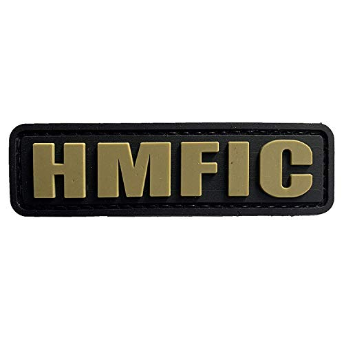 HMFIC Head Military Figure In Charge PVC Airsoft Paintball Klettverschluss-Flecken Kader Patch (Gold)