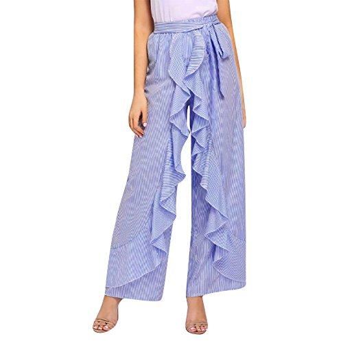 YWLINK Frauen Damen Elegant Sommer Verband Gestreiftes Breites Bein RüSchen Hohe Taille Hosen LäSsige Lange Hosen(L,Blau)