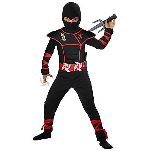 URAQT Costume da Ninja per Bambino, Ninja Costume con Maniche Lunghe, Pantaloni e Cintura, Costume Operato Costume da Festa di Halloween per Ragazzo(S(4-5 Anni))