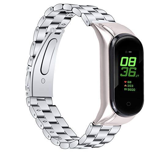 Bracelets en Cuir Mi Band 5 Correa, Miya System Ltd Reemplazo de Banda de Acero Inoxidable sólido Correa de Reloj Ajustable Pulsera para Xiaomi Mi Band 5 (Astilla)