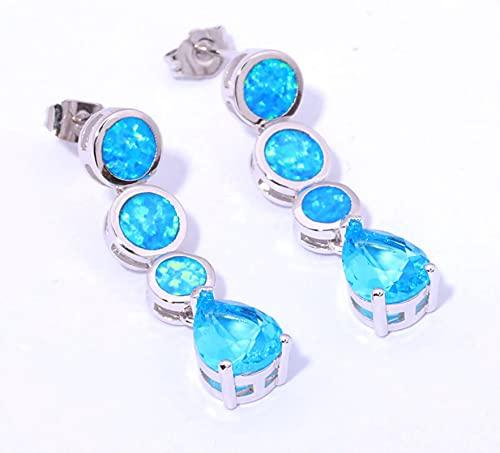 SALAN Pendientes Chapados En Plata De Circonita Azul De Ópalo De Fuego Azul Creados Elegantes para Mujer Pendientes De Botón De Joyería De 1 1/4