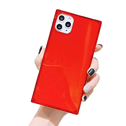 HHZY Funda Cuadrado Compatible con iPhone 12 Pro MAX Carcasa de Silicona Transparente con Esquinas Reforzadas Cojín Carcasa de Silicona TPU con Absorción de Impactos,Rojo,12 Mini