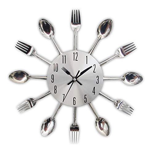 Horloge Murale de Cuisine Moderne Couverts en Argent horloges silencieuses cuillère Fourchette Autocollants muraux créatifs mécanisme Design décor à la Maison