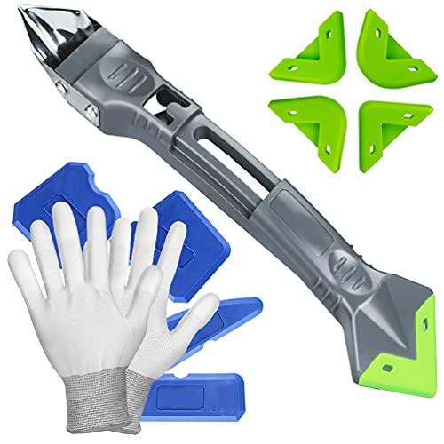 Gmili New Upgrade Kit de Herramientas de calafateo de silicona 5 en 1, juego de raspador de lechada, Seam Repair Tools + Guantes de trabajo, herramienta selladora para azulejos, cocina, baño, suelo