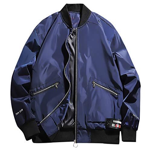 MAYOGO Herren Wasserdicht Winddichte Outdoor Jacke Casual Regenjacke Light Jacket Übergangsjacke Sweatjacke Laufen Sportjacke Baseball Jacke (Blue, XXXXXL)