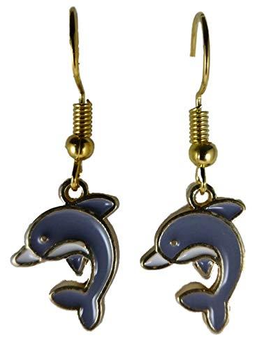 Ohrringe Ohrhänger Hänger goldfarben Delfin Delphin Meer Wasser Aquarium Fisch 9887