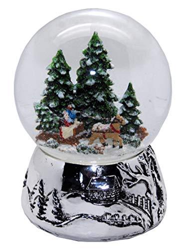 Minium Collection 20093 Schneekugel Romantische Kutschfahrt Winter & Weihnacht Silber-Sockel Landschaft mit Spieluhr Jingle Bells Durchmesser 100mm