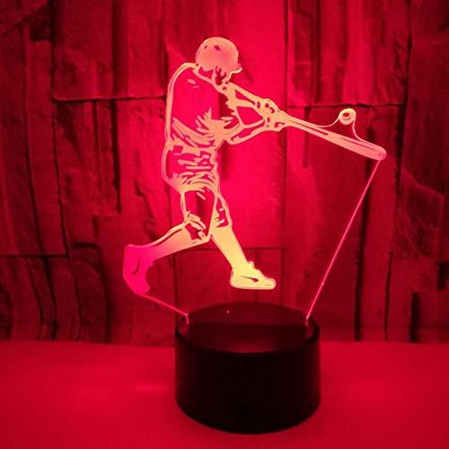 Yujzpl 3D-illusielamp Led-nachtlampje, USB-aangedreven 7 kleuren Knipperende aanraakschakelaar Slaapkamer Decoratie Verlichting voor kinderen Kerstcadeau-Honkbal schommel