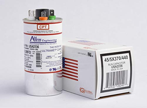 45 + 5 uf / Mfd Round Dual Universal Capacitor • AmRad USA2236 - used for 370 or 440 VAC , Made in the U.S.A.