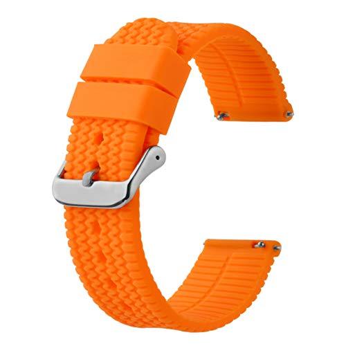 BISONSTRAP Correa de Reloj de Silicona con Liberación Rápida,20mm Banda de Reloj de Repuesto de Goma, Naranja Calabaza/Hebilla Plata