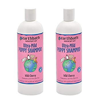 Earthbath Ultra-Mild Wild Cherry Puppy Shampoo - Tearless & Extra Gentle Aloe Vera Vitamin E - Leave Your Pup Smelling and Feeling Better Than Ever - 16 fl oz Pack of 2