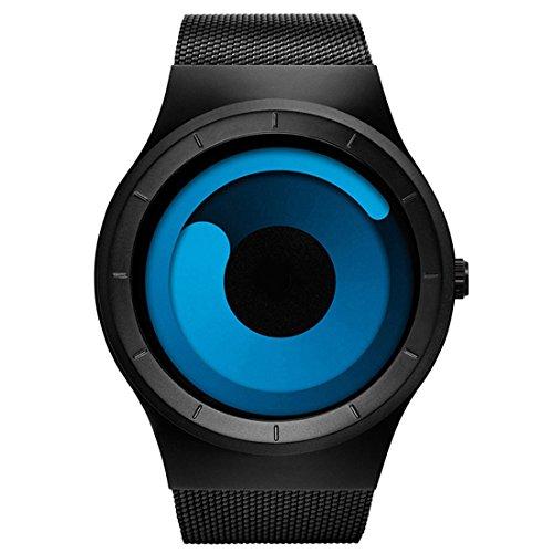 BOFUTE Herren wasserdichte Swirl Dial Edelstahl Stylische Mode Sportuhr Uhren Mit Mesh Armband Schwarz Blau