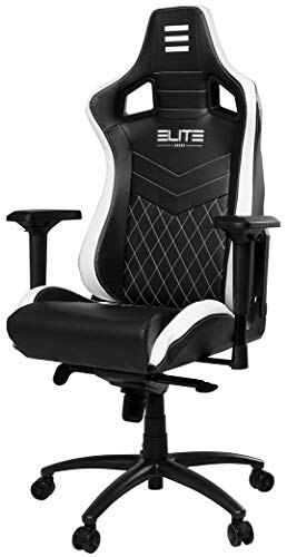 ECS ELITEGROUP Elite Premium Gaming Chair Honor - Bürostuhl – LED Beleuchtung - Kunstleder - Ergonomisch - Racer - Drehstuhl - Stuhl - Chefsessel - Schreibtischstuhl (Schwarz/Weiß)