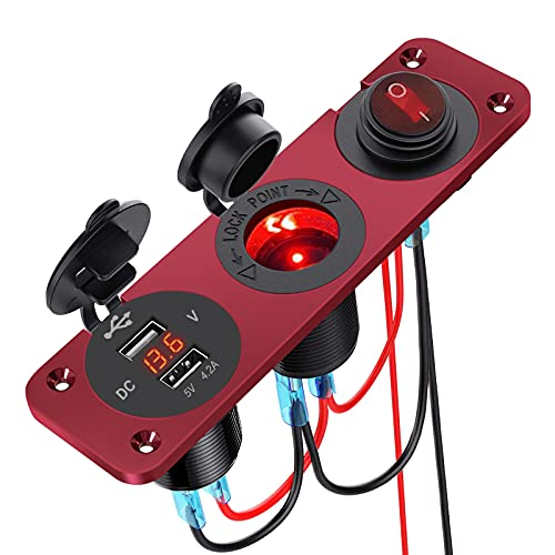5 V 4,2 A Dual USB Cargador de coche Panel de aleación de aluminio Enchufe mechero impermeable Panel de aleación de aluminio con interruptor utilizado para coche, moto, barco, ATV RV (rojo)