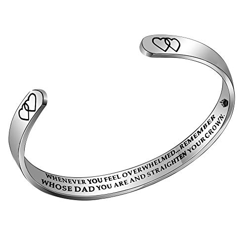 ACAROMAY Inspirational Cuff Bangle Bracelet Birthday Christmas Gift Whenever You Feel Overwhelmed Straighten Your Crown (For Dad)