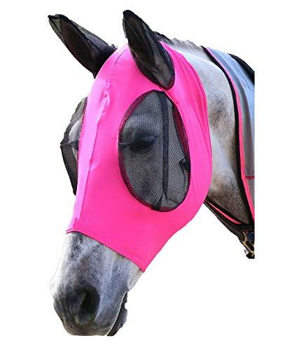 Sisieu - Maschera antimosche, in lycra, con protezione per le orecchie, in rete che evita i raggi UV, per cavalli, cob, pony Equestrian occhi (Cob/Arab, Rosa)