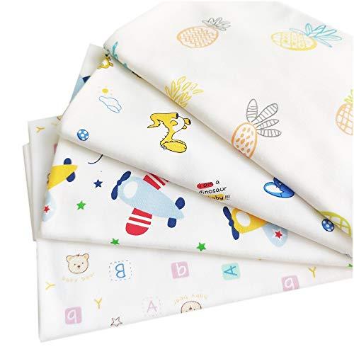 Kids Cotton Fabric Squares for Sewing, 4 pcs 1/2 Yard, Thick,Soft, Stretchy, DIY Mask, Burp Cloth, Pillows, bib