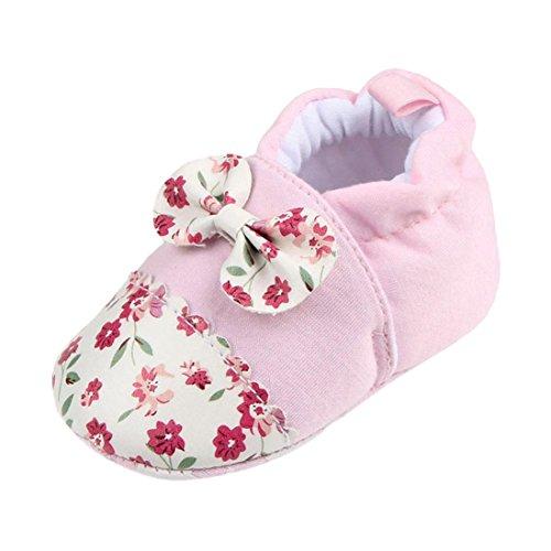 JERFER Schöne Kleinkind erste Wanderer Babyschuhe runde Kappe Wohnungen weiche Hausschuhe Schuhe 6-12M (6-9M, B)