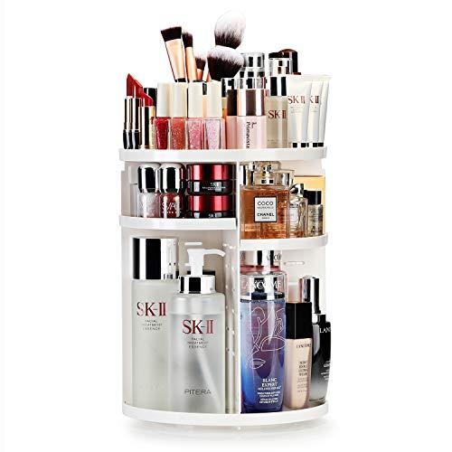 Auxmir Make Up Organizer, Beauty Kosmetik Organizer, 360°Drehbar, Schmink Aufbewahrung Kosmetikbox für Dresser Bad Schlafzimmer, Weiß