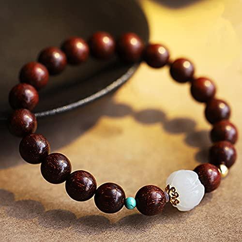 Feng Shui Pulsera de riqueza de sándalo rojo Hetian Jade Lotus Auténtica gema curativa Chakra Meditación Cristal Reiki Amuleto Lucky Wealth Ward Off Evil Spirits Reiki Pulseras para hombres y mujeres