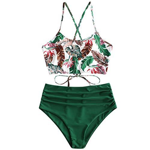 ZAFUL Damen Tankini-Set Gepolsterte Bikini Set mit Blattdruck Schnür Tankini Hohe Taille Badeanzug Bikinis Grün Small
