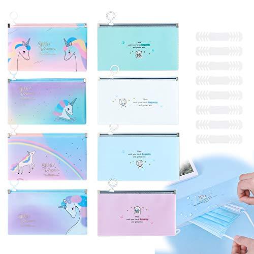 RayE 8 Stück Aufbewahrungstasche für Masken, Aufbewahrung für Tragbare Gesichtsmasken, Aufbewahrungskoffer Maskenbox Gesichtsabdeckung Organizer mit Maskenhaken Extender - Karikatur