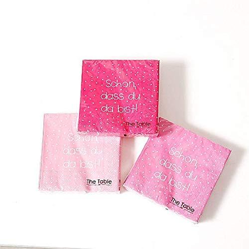 Home Collection Servietten (3er Set / 60Stück) 3-lagig 33x33cm rosa pink mit Punkten Schön DASS du da bist
