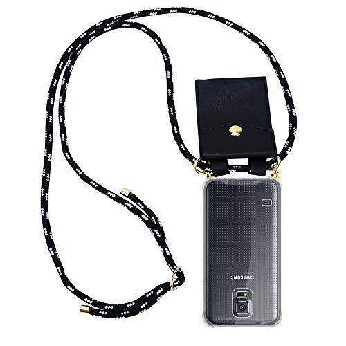 Cadorabo Handy Kette für Samsung Galaxy S5 / S5 NEO in SCHWARZ Silber – Silikon Necklace Umhänge Hülle mit Gold Ringen, Kordel Band Schnur und abnehmbarem Etui – Schutzhülle