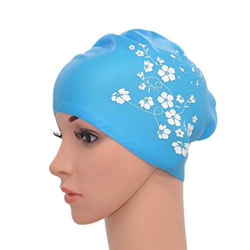 Medifier - Cappello elastico da donna, in silicone, per piscina e piscina, per capelli lunghi, con stampa Sakura (azzurro cielo)