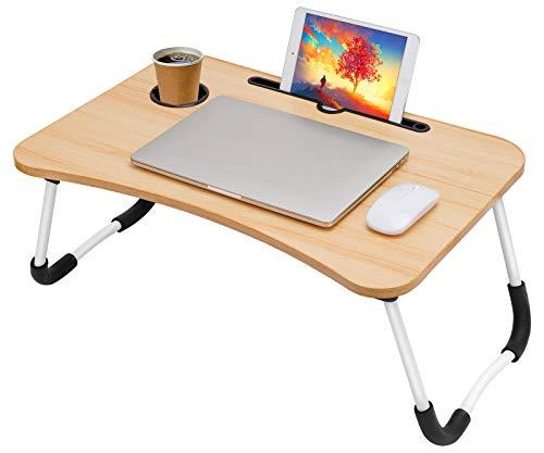SMRONAR Laptop Schreibtisch, Tragbare Bettablage Tisch Laptop-Betttisch, Folding Frühstück Serviertablage Notebook Ständer mit Tablet-Schlitz zum Essen Frühstück,Lesebuch, Film auf Bett, Couch