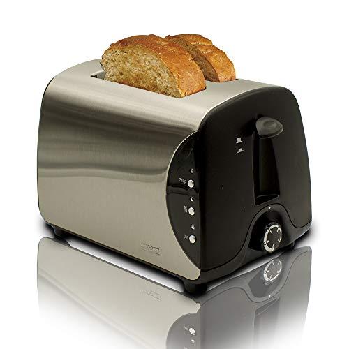 MPM BH-8863 Brottoaster aus Edelstahl, 2 Einschübe, 3 Funktionen, Toasten, Heizen und Auftauen, 850 W, Toaststufenregler, Brötchen- oder Bäckereiwärmer