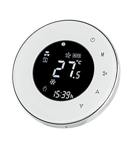 Qiumi Termostato Wifi, controlador de temperatura, aire acondicionado inteligente, controlador de temperatura programable, con pantalla LCD de 2 tubos, funciona con Alexa Página de inicio de Google