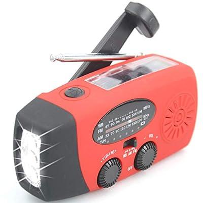 ?Aivaca-088? NOAA Weather Radio Solar Emergency Hand Crank Self Powered AM/FM/NOAA Solar Radios with 3 LED Flashlight 1000mAh Smart Phone Charger Power Bank(Red)