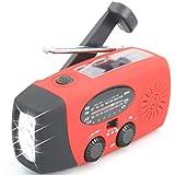 【Aivaca-088】 NOAA Weather Radio Solar Emergency Hand Crank Self Powered AM/FM/NOAA Solar Radios with 3 LED Flashlight 1000mAh Smart Phone Charger Power Bank(Red)