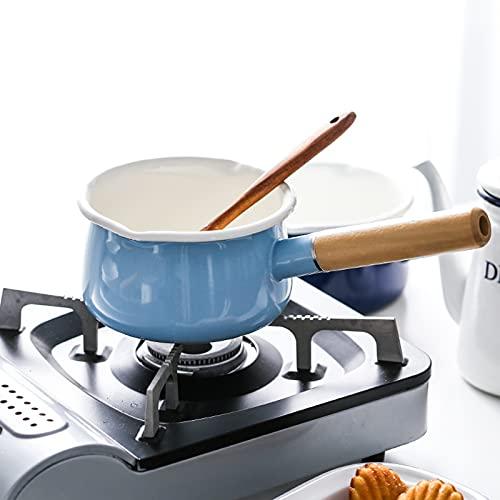 Pequeño olla de sopa de leche Sola manija de esmalte de porcelana espesando bebé auxiliar Pan horno electromagnético (Color : Navy Blue)