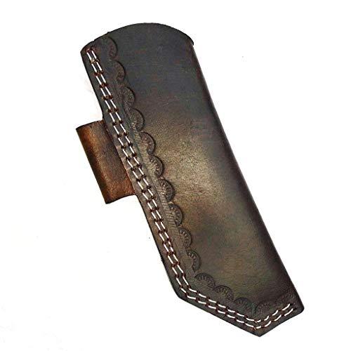 Ottoza Handmade Leather Knife Sheath Side Draw Knife Sheath - Bushcraft Knife Sheath - Hunting Knife Sheath - Survival Knife Sheath - Vertical Knife Sheath Dark Brown TOP Grain Leather No:206