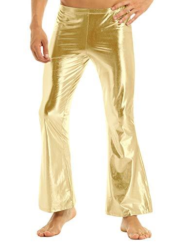 Yeahdor Herren Disco Hose Schlaghose Metallic Leder Lange Hose 70er 80er Jazzhose Tanzkostüm Karnevalskostüm Fasching Party Cosplay Gold XL