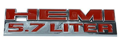 Garage-SixtySix kunststof embleem sticker 5,7 HEMI 13x3,7 rood chroom