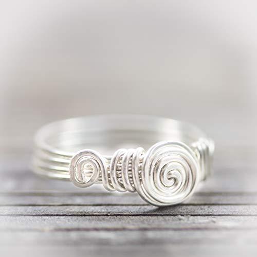 Gehämmerter Silber-Ring mit handgebogener Spirale/jede Größe/kunstvolle und sorgfältige Handarbeit