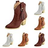 BaZhaHei Botines de Mujer Botines con Flecos Grandes TamañO Caballero Botas Zapatos de TacóN Alto para Mujer Aliexpress Tassel Boots Botas de Caballero de Gran TamañO Zapatos para Mujer